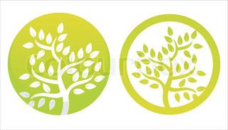 sæt 2 grønne blomster symboler