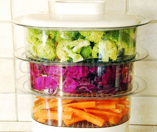 Colorful vegetables in steamer