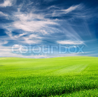 green field over cloudy blue sky with artistic sun rays added