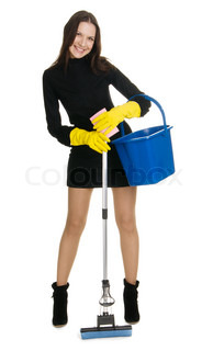 Sexy housewife in elegant dress holding a swab and bucket, white background