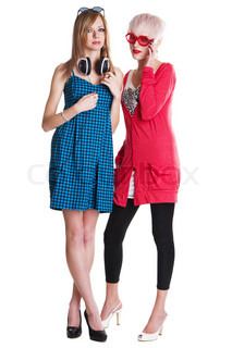 Lovely teenage girls in colorful clothing against white background