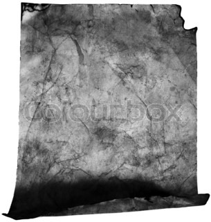 Crumpled old paper in black and white (as a roll isolated on white)