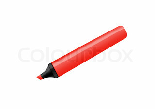 Red marker isolated on pure white background
