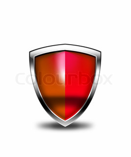 Red security shield isolated on a white background