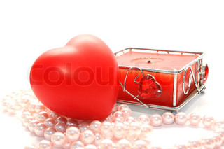 Valentine heart,candle,,pink pearls on white background