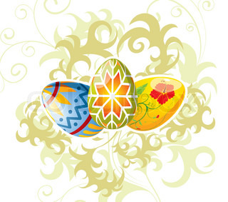 Easter eggs with ornament on floral background, element for design, vector illustration