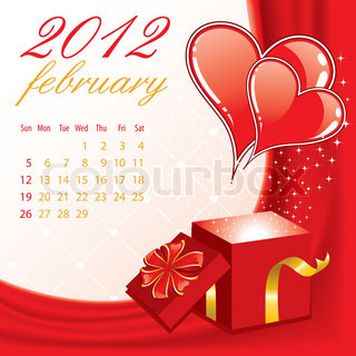 Calendar for 2012 February with Hearts, element for design, vector illustration