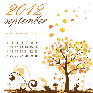 Calendar for 2012 September with Tree and Mushroom, vector illustration