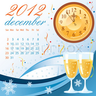 Calendar for 2012 December with Bell, element for design, vector illustration