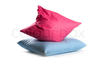 pink and blue pillows isolated on white background