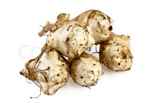 Five tubers of Jerusalem artichoke is isolated on a white background