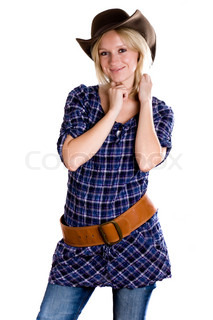 beautiful western woman in cowboy shirt, jeans and hat isolated on white background