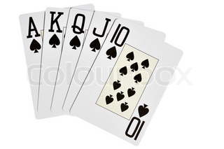 Spades royal flush isolated over white background