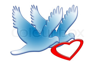 True Romance, doves couple with red heart