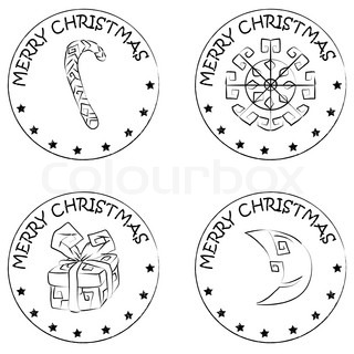 4 christmas coin stamps isolated on white with stars and merry christmas text, snowflake, present, moon, candy