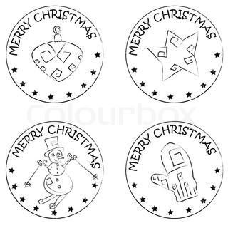 4 christmas coin stamps isolated on white with stars and merry christmas text, snowman, star, glove, globe