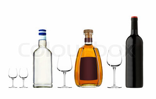 different bottles with alcohol