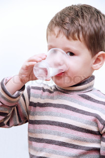 Little Child Boy Drinking Pure Water from Plastic Cup