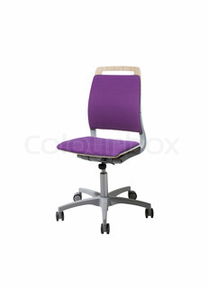 Image of an pink office chair isolated against white background