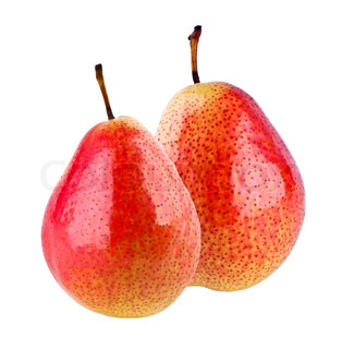 Two red pears on white background