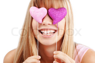 Portrait of beautiful young romantic girl in Valentines day