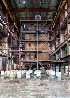Dilapidated old boiler house, an interior shop