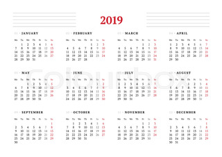 calendar for 2019 year on white background vector design print template week starts on