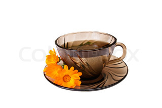 One cup of herbal tea and calendula blossoms isolated on a white background