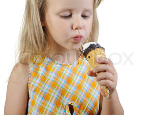 Little girl eating ice cream Isolated on a white background