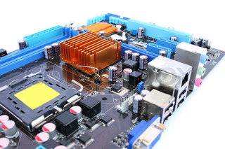 Computer motherboard with many electronic components