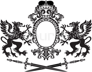 Griffins, arms and crossed swords composition