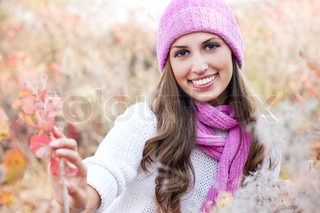 happy Young beautiful woman wearing winter clothing