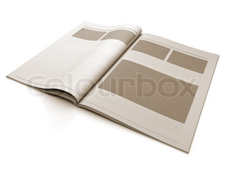 A 3d illustration of a Magazine blank page for design layout illustration