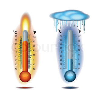 Thermometer Fire Ice vector icon