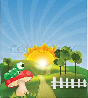 Beautiful landscape with caterpillar sitting on red mushroom and fence