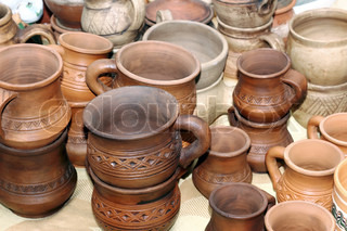 Pots in the window of a potter's workshop, a traditional pottery