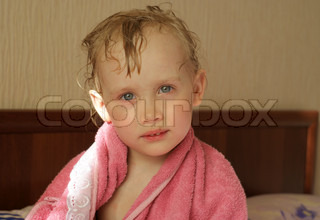 Little girl after bathing