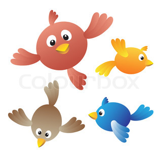 Flying birds on white background