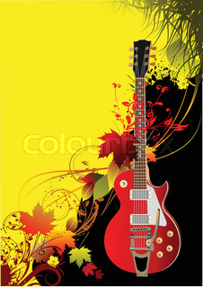Cover for brochure with autumn leaves and guitar image Vector illustration