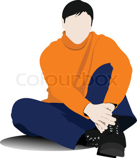 on the floor young man Vector illustration