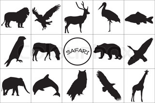 Silhouettes of wild animals with symbol
