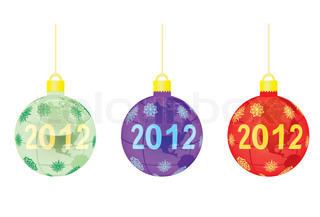 three christmas tree balls with 2012 over globe vector illustration