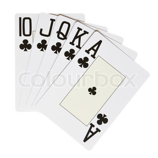 Clubs royal flush isolated over white background