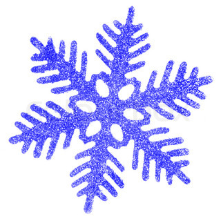 Blue snowflake isolated over a white background