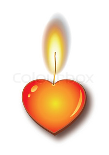 Heart candle burning flame
