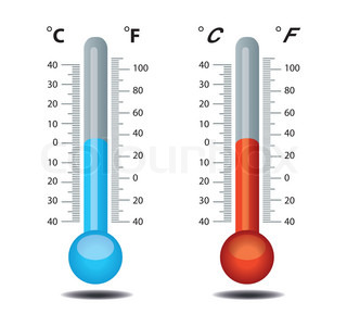 Thermometer vector, celsius, fahrenheit
