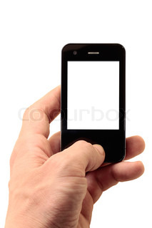 mobile phone in left hand with isolated display