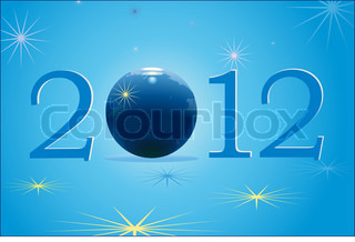 2012 New Year with blue globe