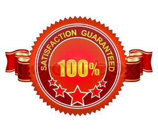 shiny red symbol label satisfaction guarantee isolated