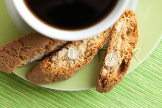 the italian cantuccini cookies and coffee cup